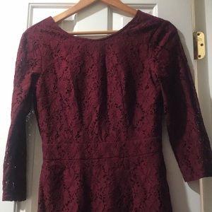 a burgundy dress